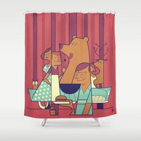 ale giorgini Shower Curtains featuring Barbecue by Ale Giorgini