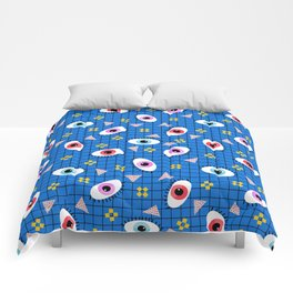 Hungry - eyes retro grid throwback 1980s minimal modern pattern print wacko designs neon  Comforters