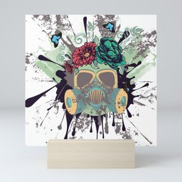Green Gas Mask with Roses Mini Art Print