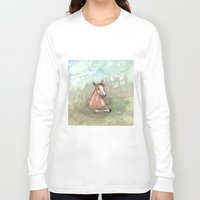 pony Long Sleeve T-shirts featuring Resting Pony by Bluedogrose