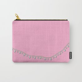 Vintage Beads on Pink Carry-All Pouch