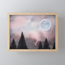 Bright Night Sky Watercolor Framed Mini Art Print