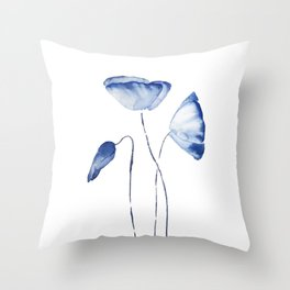 indigo poppy watercolor Throw Pillow