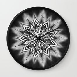 Black Ice Mandala Swirl Wall Clock