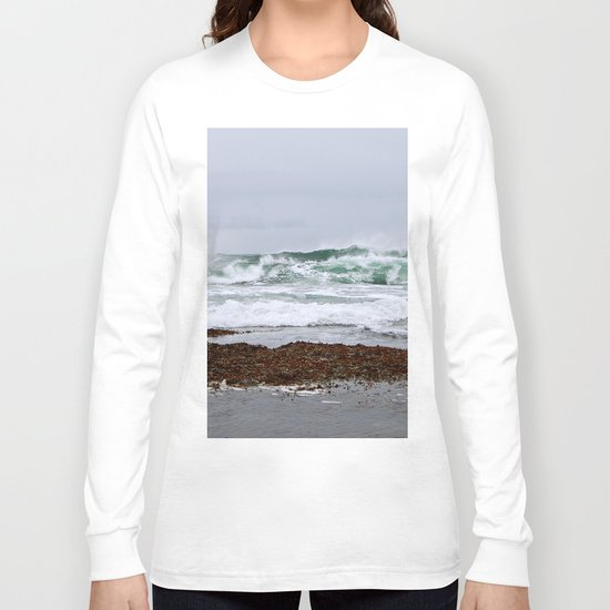 Green Waves Crashing into White Foam Long Sleeve T-shirt
