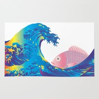 hokusai Area & Throw Rugs featuring Hokusai Rainbow & Jpanese Snapper  by FACTORIE