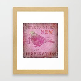 Move on pink Inspirational Typography and Bird Collage Framed Art Print