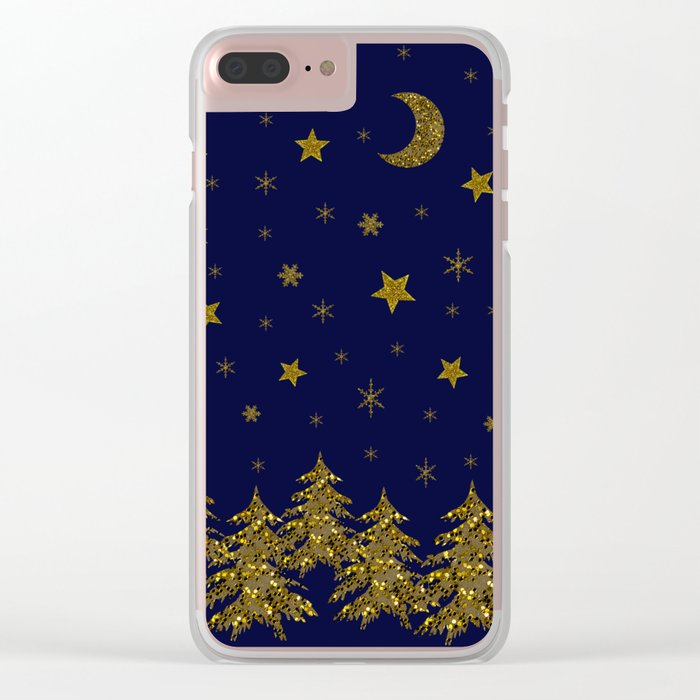 Sparkly Christmas tree, moon, stars Clear iPhone Case