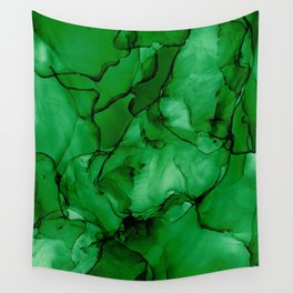 Deep Green Abstract: Original Alcohol Ink Painting Wall Tapestry