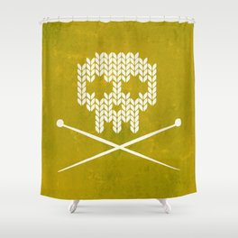 Knitted Skull (White on Yellow) Shower Curtain