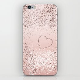 Sparkling ROSE GOLD Lady Glitter Heart #5 #decor #art #society6 iPhone Skin