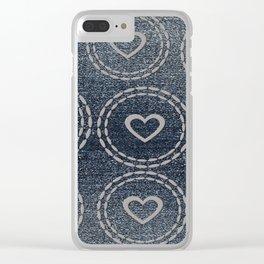 Cool Blue Denim & Hearts Pattern Clear iPhone Case