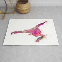 Karate Girl Colorful Watercolor Art Rug