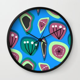 Flowers and seeds- abstract Wall Clock