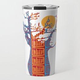 African Baobab tree of life at Sunset Travel Mug