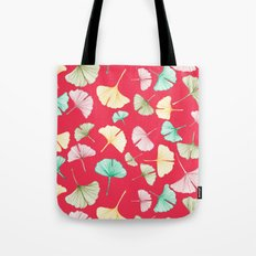 Gingko Leaves on Red Tote Bag