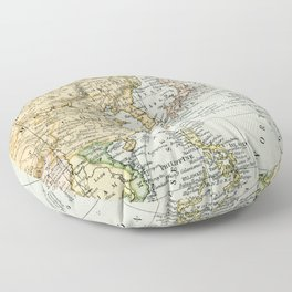 China, Russia, Japan Vintage Map Floor Pillow