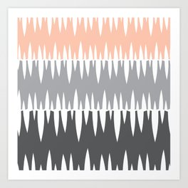 Accordian | peach+grey+slate Art Print