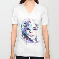 lunar V-neck T-shirts featuring lunar mistery by Cora-Tiana