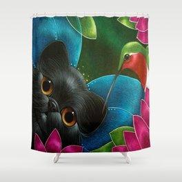 FAIRY KITTEN CAT with RUBY HUMMINGBIRD  Shower Curtain