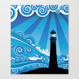 Blue stylized sea with big waves and lighthouse Canvas Print