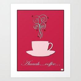 Aaah...coffee Vintage / Retro Coffee Print - Fresh Shell on Raspberry Sorbet Art Print