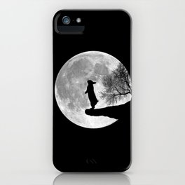 Moon Bunny - Black & White iPhone Case