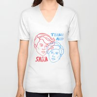 tegan and sara V-neck T-shirts featuring Tegan and Sara in 3D by greta skagerlind