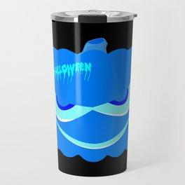 Evil Blue Halloween Pumpkin Travel Mug