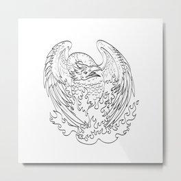 Phoenix Mythological Bird Regenerates on Fire Front Line Art Drawing Black and White Metal Print