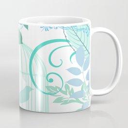 Aqua Blue Birdcage Vintage Style Print Coffee Mug