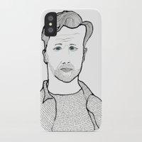 kerouac iPhone & iPod Cases featuring Jack Kerouac wearing his words by daniel davidson