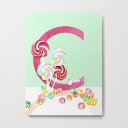C - Candy Metal Print