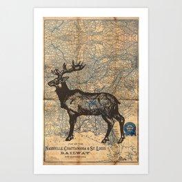 Nashville, St. Louis, Chattanooga, Vintage Railway Map, Mule Deer Print Art Print