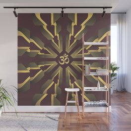 Om Fractal Purple & Yellow, Aum Kaleidoscope Wall Mural