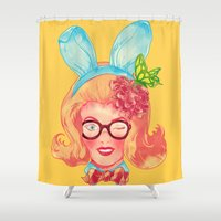 belle Shower Curtains featuring Lapin Belle by choppre