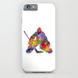 Boy Ice Hockey Goalie Colorful Watercolor Sports Art iPhone Case