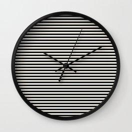 Black Linen Seashell Fine Stripe Wall Clock