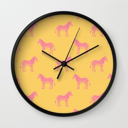 Zebra Pattern in Pink and Yellow Wall Clock