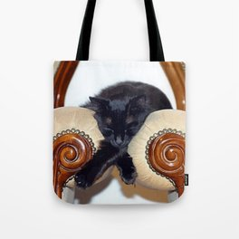 Relaxed Black Cat Sleeping Between Two Chairs  Tote Bag