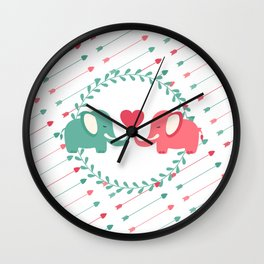 Elephant Love with Arrows Wall Clock
