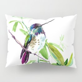 Hummingbird and Green Foliage, tropical green design Pillow Sham