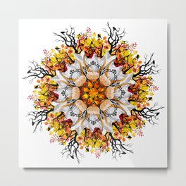 orange halloween mandala Metal Print