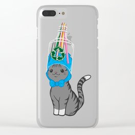 Grey Tabby Wears Recycled Plastic Hat Clear iPhone Case
