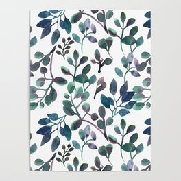 Jade and Succulent Watercolor Plant Pattern Poster
