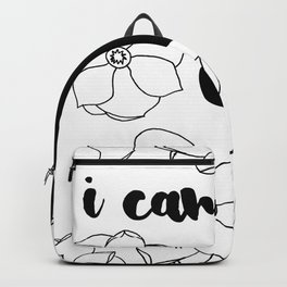 I Can & I Will - Floral - Magnolia Pattern - Black & White - Motivational Backpack