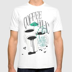 Us And Them: Coffeeholic Anonymous. MEDIUM Mens Fitted Tee White