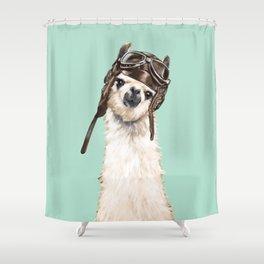 Cool Pilot Llama Shower Curtain
