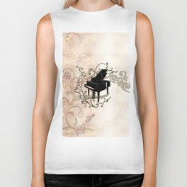 Music, piano with key notes and clef Biker Tank
