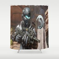guardians of the galaxy Shower Curtains featuring Halo5 Guardians by ezmaya